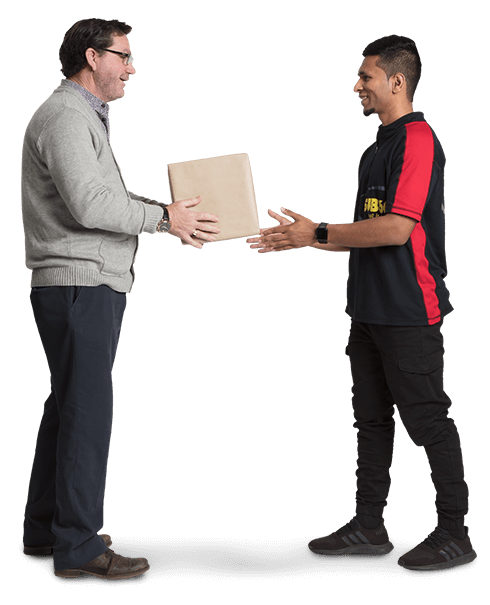 Businessman handing a package to a courier driver for urgent delivery.